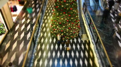 Giant tree in a shopping mall at Christmas time Stock Footage