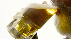 Beer silhouette beard close-up appetite Stock Footage