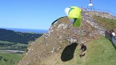 Paraglider starts Stock Footage