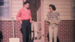 Cute Family Outside Their House-1964 Vintage 8mm film Stock Footage