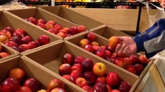 Man selecting plum in grocery store - stock footage