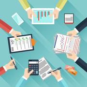 Businessmen hands with different office activities - stock illustration