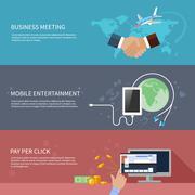 Business meeting, mobile entertainment Stock Illustration