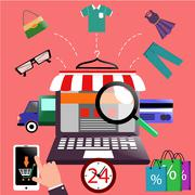 Internet shopping concept laptop with awning - stock illustration