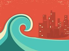 Tsunami and big city in the night.Huge wave poster Stock Illustration