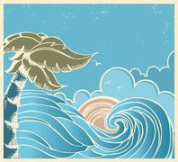 Blue seascape with big wave and sun on old poster Stock Illustration