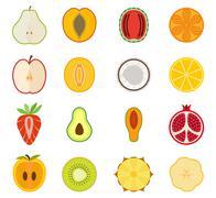 Vector fruit icon set - pear, peach, apricot, watermelon, orange, Apple, melon Stock Illustration