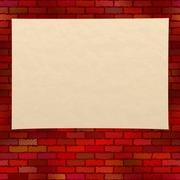 Paper sheet on brick wall Stock Illustration