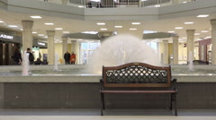 Inside of the shopping mall with a working fountain Stock Footage