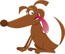 playful dog cartoon illustration - stock illustration