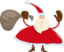 santa claus with sack cartoon - stock illustration