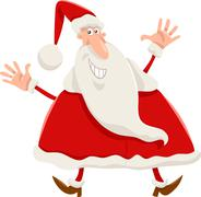 happy santa claus cartoon - stock illustration
