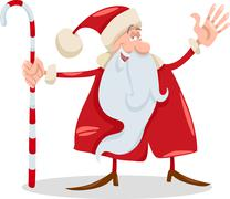 santa claus with cane cartoon - stock illustration