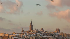 Time lapse photography, Galata Tower at Sunset Stock Footage