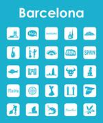 Set of Barcelona simple icons - stock illustration