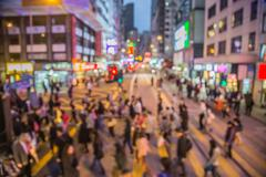 Motion blurred crowded city people lifestyle background Stock Photos