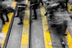 Motion blurred crowded city people lifestyle background - stock photo