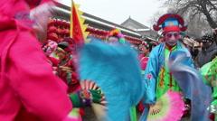 villagers dancing yangko in spring festival temple fair - stock footage