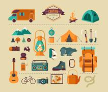 Hiking and camping equipment  - icon set and infographics - stock illustration