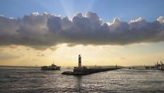 Sunset clouds in Istanbul. Sailing out to Bosporus in jetty by the sunset Stock Footage