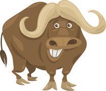 african buffalo cartoon illustration - stock illustration