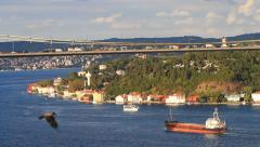 Intercontinental traffic in the region passes through major hub, Bosporus strait - stock footage