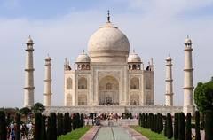 Taj Mahal from reflection pool - Agra, India Stock Photos