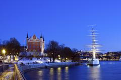 Wonderful winter night wiev of the Admiralty House and the af Chapman Ship in - stock photo
