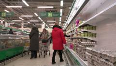 Video between the rows of the grocery store. The rapid movement of the camera Stock Footage