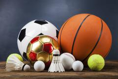 Sports accessories. paddles, sticks, balls and more Stock Photos