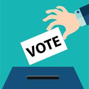 Vote ballot with box. Vector illustration. - stock illustration