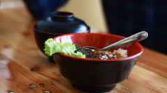 Japanese food Style Grilled Mackerel on the rice Stock Footage
