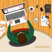 Business man working with laptop and documents Stock Illustration