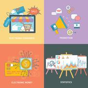 Electronic commerce, statistic, promotion Stock Illustration