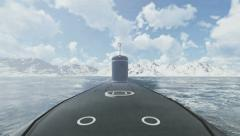 Surfaced russian nuclear submarine Borei front view 4K Stock Footage
