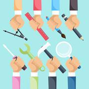 Hands with construction tools Stock Illustration
