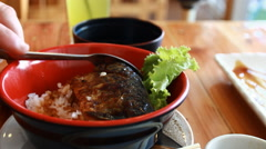 Eating japan food Stock Footage