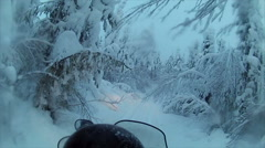 Sweden Lapland Sarkimukka, POV tourists on snowmobile 009 Stock Footage