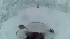 Sweden Lapland Sarkimukka, POV tourists on snowmobile 005 Stock Footage