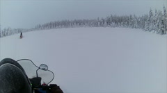 Sweden Lapland Sarkimukka, POV tourists on snowmobile 007 Stock Footage
