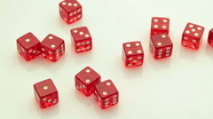 arrangement of red dice tracking - stock footage