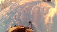 Stock Video Footage of Sweden Lapland Sarkimukka, POV tourists on snowmobile 015