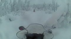 Sweden Lapland Sarkimukka, POV tourists on snowmobile 006 Stock Footage