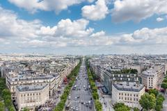 Champs elysees Avenue view from Arc de Triomphe, Paris, France Stock Photos