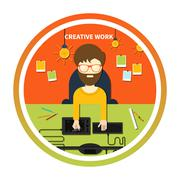 Creative work and designer tools concept Stock Illustration