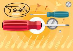 Stock Illustration of Standard cabinet tip screwdriver, turn-screw