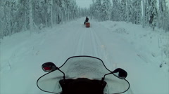 Sweden Lapland Sarkimukka, POV tourists on snowmobile 004 Stock Footage