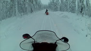 Stock Video Footage of Sweden Lapland Sarkimukka, POV tourists on snowmobile 004