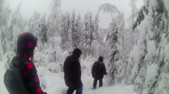 Sweden Lapland Sarkimukka, Tourists walking through forest 001 Stock Footage