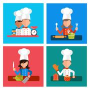 Cooking serve meals and food preparation elements - stock illustration